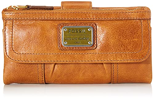 Fossil Women's Emory Leather Wallet Clutch Organizer, Saddle