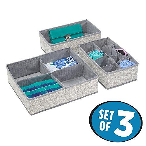 mDesign stof dressoir lade en kast opslag organisator voor ondergoed, sokken, beha's, slipjes, legging - set van 3, grijs