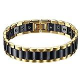 JewelryWe Bracciale Magnetico, in acciaio inossidabile e ceramica, a rettangoli alla moda...