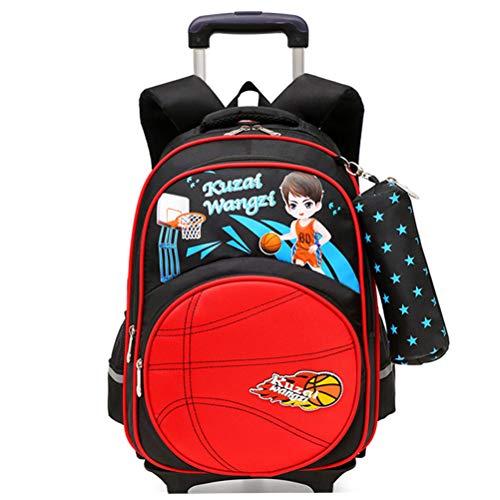 Mochila con ruedas de baloncesto para niños, mochila reflectante con 6 ruedas Trolley Mochilas escolares Mochilas para niños Mochila con ruedas para primaria (7-16 años)-red