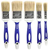Luigi's Paint Brushes for Walls | 5X Synthetic Bristle Paint Brushes for Painting Walls, Furniture, and More | Large House Paint Brush Set for Walls | Gloss, Stain, and Latex Paintbrush Pack