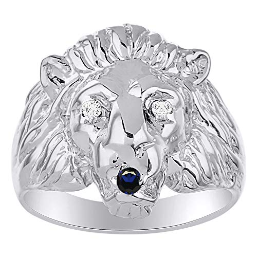 RYLOS Amazing Conversation Starter Set with Genuine Diamonds & Sapphire in the Eyes & Mouth of this Fabulous Lion Head Ring Set in Sterling Silver.925