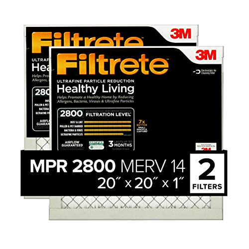 Filtrete 20x20x1, AC Furnace Air Filter, MPR 2800, Healthy Living Ultrafine Particle Reduction, 2-Pack (exact dimensions 19.69 x 19.69 x 0.78)