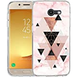 Compatible to Samsung Galaxy J7 V / J7 2017 / J7 Prime / J7 Perx / J7 Sky Pro/Galaxy Halo Case, TPU Rubber Soft Skin Silicone Protective Case Cover Marble Pink Geometric Pattern