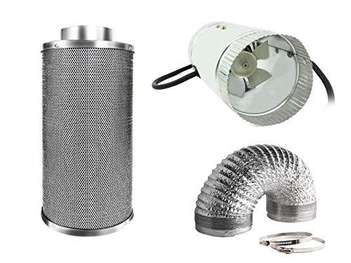 Generic Abluft Set mit Mini Lüfter 150m³/h und Aktivkohlefilter 100x200mm 255m³/h: Lüftung Klima Growbox LED (150 m³/h)