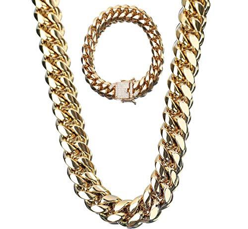 SMACO Hip Hop Rock para Hombre Cadena de Bloqueo de Cadena Cubana de Oro 18 K Diamante de Acero Titanium de Acero Inoxidable + Juego de Pulsera Joyería