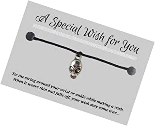 Skull Charm Black Hemp Wish Bracelet - Silver Tone Alloy Charm on Printed Card - Up to 12 inches - Unisex