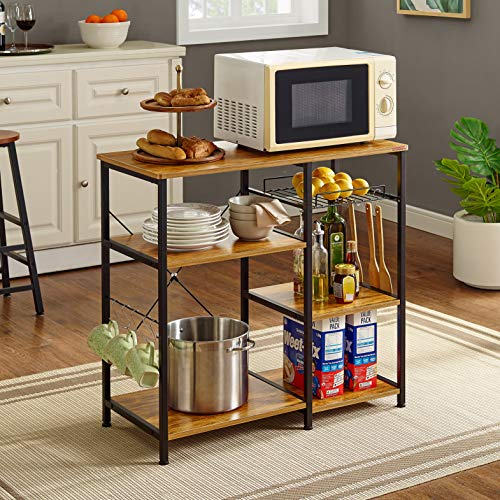 Mr IRONSTONE Kitchen Baker's Rack Vintage Utility Storage Shelf Microwave Stand 3-Tier+3-Tier Table for Spice Rack Organizer Workstation