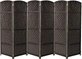 Sorbus Room Divider Privacy Screen, 6 ft. Tall Extra Wide Foldable Panel Partition Wall Divider, Double Hinged Room Dividers and Folding Privacy Screens, Diamond Double-Weaved(6 Panel, Espresso Brown)