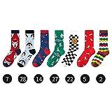 chenran Élasticité 1-7 Paires/Lot Chaussettes Hommes Streetwear Chaussettes Longues De Soccer Ins Mode Sports Doux Coton Hommes Heureux Chaussettes Imprimer Chaussettes Chaussettes