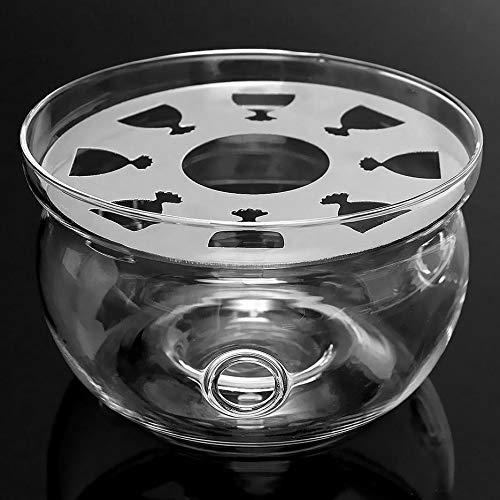 RoxTop Hitzebeständige Stövchen Basis Klar Borosilicatglas runde Form Isolierung Teelicht Tragbare Teekanne Halter (transparent)