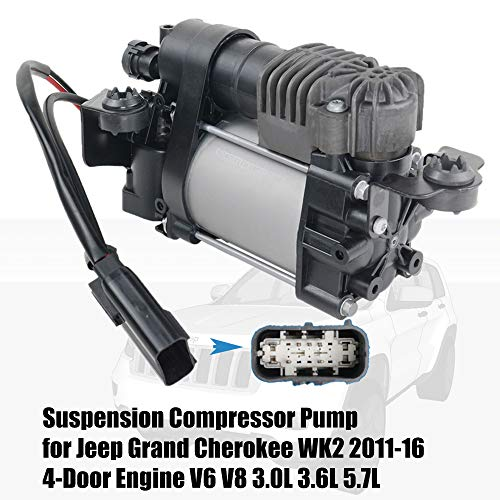Air Suspension Compressor Assembly 68204730AH Replacement for Jeep Grand Cherokee 3.6L V6 5.7L 6.4L V8 2011-2020 Part# 68041137AD 68041137AE 68041137AF GELUOXI