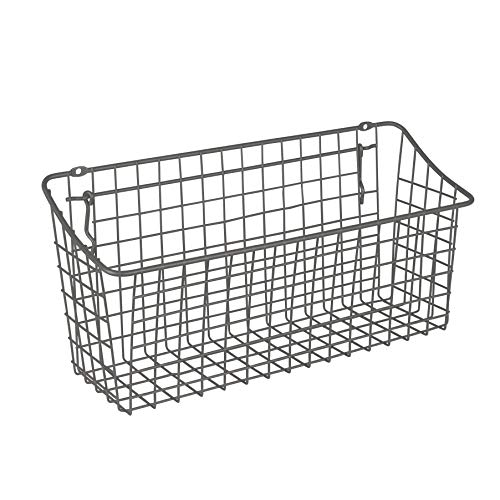 Spectrum Diversified 15' x 5' x 7' Pegboard & Wall Mount Basket, XL Wire Basket for Slatwall & Pegboard, Home & Garage Storage, Versatile Wall Organizer for Tools & Craft Supplies, Industrial Gray
