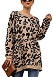 Ecowish suéter de Manga Larga con Estampado de Leopardo de Gran tamaño para Mujer, Casual, Estampado de Camuflaje, suéter de Punto - Caqui - Medium