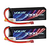 VORJAY 14.8V 50C 3300mAh 4S Lipo Battery with Deans T Plug for RC Truck RC Airplane RC Helicopter Drone Quadcopter (2 Packs)