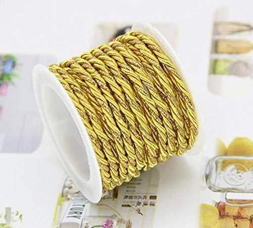 Yener 100% katoen koord 3 mm Eco-vriendelijke gedraaide touwvasthoudendheid draad DIY textiel ambachtelijke geweven koorden Gift Box Tag decoratie, goud