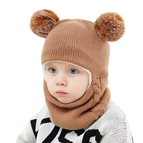Baby Winter Hat, Kids Knitted Hat, Toddler Cotton Hood Scarf Earflap with Pompom