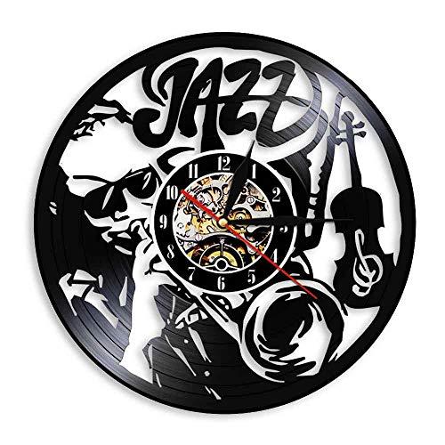 Liushenmeng Reloj Disco de Vinilo Guitarra de Jazz Reloj Disco de Vinilo Decor Art Vinilo Reloj decoración única Hecha a Mano decoración Idea de Regalo Creativo Vinilo diámetro 30 cm