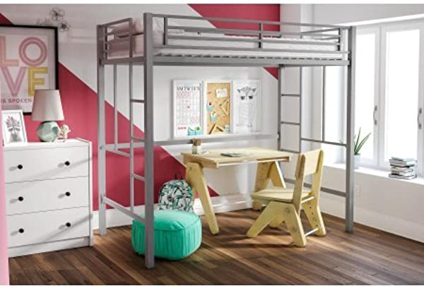 Your Zone Metal Loft Twin Bed By SuperIndoor Metal Silver