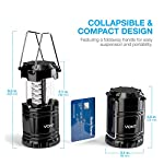 Vont 4 Pack LED Camping Lantern, LED Lanterns, Suitable Survival Kits for Hurricane, Emergency Light for Storm, Outages… 10 Bright & Lasting: Equipped with 30 crazy bright leds, this compact lantern cuts through 360 degrees of darkness on the stormiest, dimmest nights. Easily lights up the entire tent or room. Compact & Lightweight: Collapsible design that reduces or increases the light as you collapse or expand the lantern. When collapsed it's as small as your phone. Easily fits in your backpack or emergency kit. Waterproof: Constructed with aircraft grade materials: your lantern is able to survive a 10-foot drop and being temporarily submerged under water.