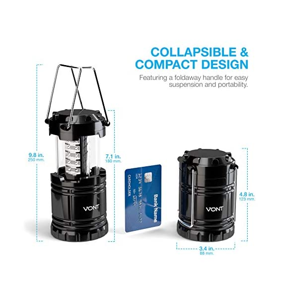 Vont 4 Pack LED Camping Lantern, LED Lanterns, Suitable Survival Kits for Hurricane, Emergency Light for Storm, Outages… 4 Bright & Lasting: Equipped with 30 crazy bright leds, this compact lantern cuts through 360 degrees of darkness on the stormiest, dimmest nights. Easily lights up the entire tent or room. Compact & Lightweight: Collapsible design that reduces or increases the light as you collapse or expand the lantern. When collapsed it's as small as your phone. Easily fits in your backpack or emergency kit. Waterproof: Constructed with aircraft grade materials: your lantern is able to survive a 10-foot drop and being temporarily submerged under water.