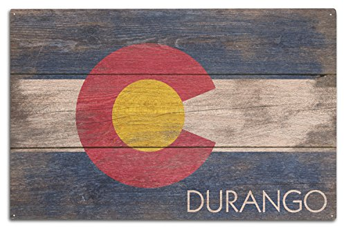 Lantern Press Durango, Colorado - Rustic Colorado State Flag (10x15 Wood Wall Sign, Wall Decor Ready to Hang)