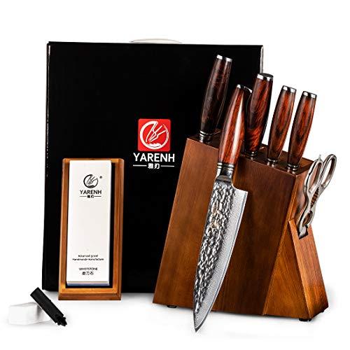 YARENH Damastmesser Küchenmesser Set 8er mit Holzblock,Japanische Damaszener Klinge Scharfes Messer,Damaststahl Profi Kochmesser,Damast Messerblock Messerset