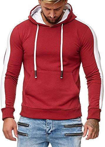 OneRedox Herren Sweatshirt Hoodie Pullover Kapuzenpullover Modell 1212 Bordo XXL