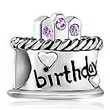 Poetic Charms - Ciondolo per torta di compleanno, con 12 pietre di nascita simulate 925, compatibile con bracciali e Argento, colore: Giugno., cod. Poe_DPCSS1482_X06