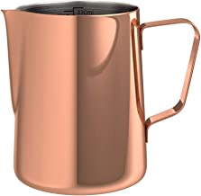 bonVIVO Muvo Stainless Steel Milk Jug With Copper Finish, Milk Frother Pitcher 12 Fl-Oz, Barista Tools Milk Frothing Pitch...