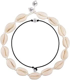 Shell Choker Necklace Handmade Pearls Choker Adjustable Summer Beach Puka Seashell Necklace