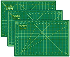 """LUMIIM 18"""" x 12"""" Self Healing Cutting Mat Double Sided 5-Ply with Grid & Non Slip Surface,Great for Sewing,Crafts,Arts,Quilting(3 Pack)"""