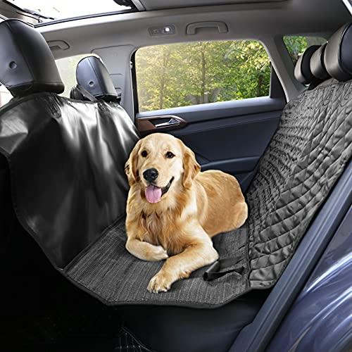 KingSaid Kofferraumschutz Hundedecke Autoschondecke Auto Rückbank und Kofferraum, Wasserdicht, rutschfest und Kratzfest mit Sicherheitsgurt für die Meisten Autos und SUV