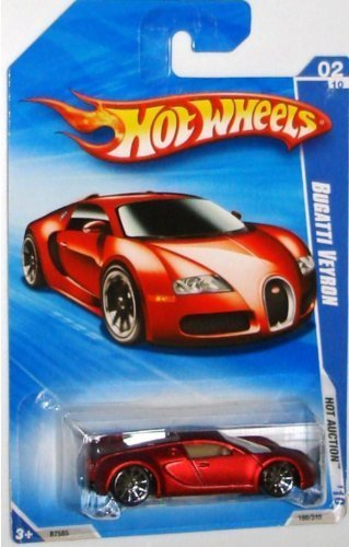 Hot Wheels 2010-160 RED Bugatti Veyron Hot Auction 1:64 Scale by Hot Wheels