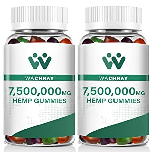 Wachray Hemp Gummies 7,500,000 MG Premium Extract for Pain & Inflammation, Anxiety & Stress Relief, Better Sleep - Sharpen Brain Function - Low Sugar, 160 Counts (2 Pack)