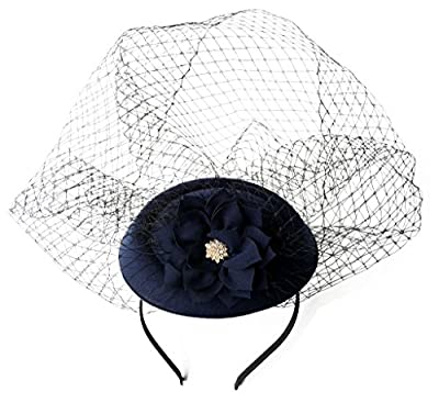 Fascinators Hat Hair Clip Pillbox Hat Bowler Lotus Flower Veil Wedding Party Hat