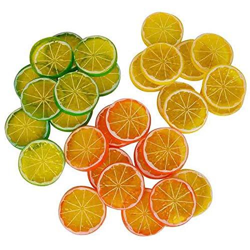 Rfvtgb Rebanadas de limón, frutas costeras, rodajas de limón, modelo de fruta de plástico, decoración para fiestas y bodas.