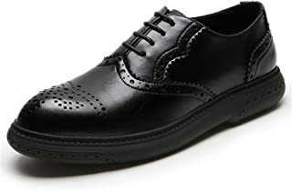 Leather Platform Oxfords for Men Leisure Loafers Lace up Microfiber Leather Pointed Toe Flat Heel Brogue Carving shoes (Color : Black, Size : 38 EU)