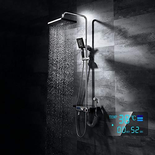 DKEE Equipo de ducha Conjunto De Ducha Termostática Con Pantalla Digital Inteligente, Dispositivo, Estante, Sistema De Ducha Con Rociador Superior Grande, Grifo De Ducha De Latón, 7 Modos, Elevador Do