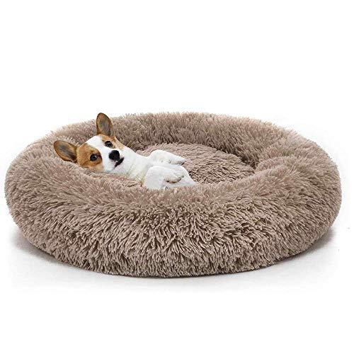 Boehner Cama Redonda para Mascotas, Suave, Lavable, autocalentante, calmante, Cama para Perro, Cama Redonda para Perro, cómoda para Dormir en Invierno (Cama para Mascotas Donut), marrón, 100 cm
