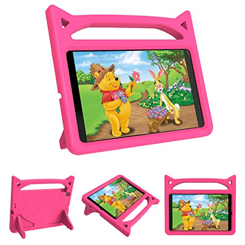 Riaour Kids Case for Samsung Galaxy Tab A 8.0 2019 T290 T295,Shockproof Convertible Handle Stand Cover Light Weight Kids Friendly Protective Case for 8.0 Inch Galaxy Tab A 2019 Without S Pen (Rose)