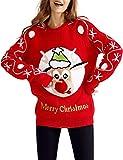Cute Rudolph Weihnachtenspullover 3D Pom Pom Nase