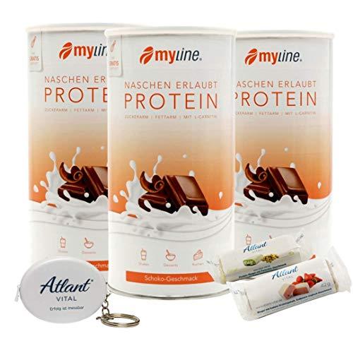 Myline Eiweiß Shake Protein Pulver 3er Pack + Atlant Vital Maßband und 2 Proteinriegel (Schoko-Schoko-Schoko)