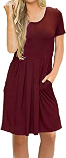 Hotkey Womens Summer Dresses Beach Fashion Womens Solid O-Neck Short Sleeve Pocket Casual Swing Loose Dress