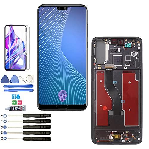 RongZy LCD Pantalla para Huawei P20 Pro CLT-AL01 CLT-L29 CLT-L09 Pantalla Táctil Digitalizadora Con Sensor de Huellas Dactilares (Negro con Marco)