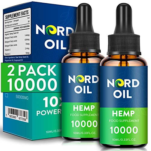 (2 Pack) NORD Oil 10X Powerful High Strength Hemp Premium Oil 10000MG - 10ML,Vegan Friendly, Rich in Omega 3-6-9 and Vitamins