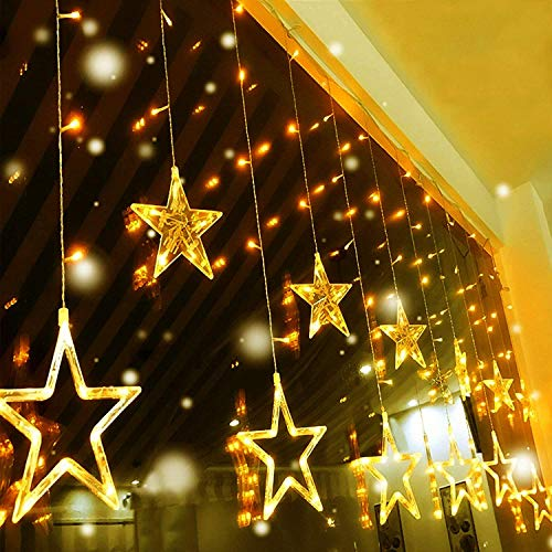 Quntis 138 LEDs 2m 12 Sterne Lichterkette Sternenvorhang Warmweiß, IP44 8 Modi Lichtervorhang Strombetrieb Innen Außen, Erweiterbare Weihnachtsbeleuchtung Deko für Weihnachten Fenster Zimmer Balkon
