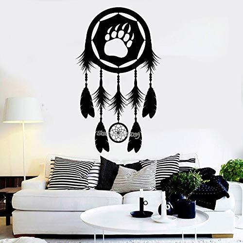 yaoxingfu Salón Vinilo Tatuajes de Pared Dreamcatcher Paw Bear Tribal Teens Dormitorio Etiqueta de la Pared Sofá Fondo Decoración de la Pared Home Mural Amarillo 56x94cm