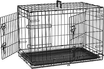 AmazonBasics Cage pliante en métal avec 2portes pour chien - 76 cm
