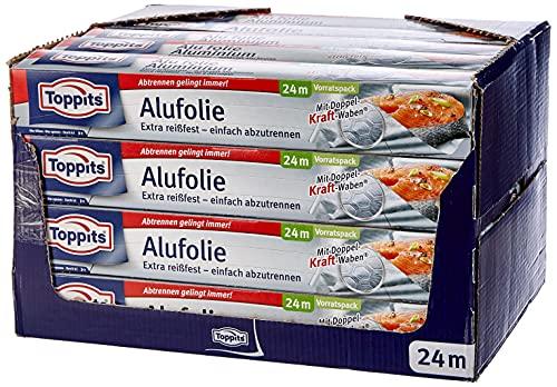 Toppits Papel de aluminio de 24 metros de ancho 30 cm, caja dispensadora, color plateado, 20 unidades